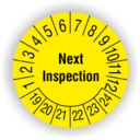 "Prüfplaketten Next Inspection Prüfplaketten ""Next Inspection"" - 2019"
