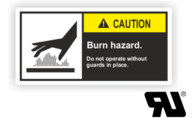 "Maschinenschilder nach ANSI Z535 mit UL-Zertifizierung UL-Maschinenschild - ""CAUTION Burn hazard.Do not operate without guards..."""