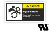 "Maschinenschilder nach ANSI Z535 mit UL-Zertifizierung UL-Maschinenschild - ""CAUTION Injury hazard.Never reach into moving machinery."""
