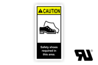 "Maschinenschilder nach ANSI Z535 mit UL-Zertifizierung UL-Maschinenschild - ""CAUTION Safety shoes required in this area."""