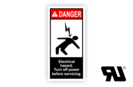 "Maschinenschilder nach ANSI Z535 mit UL-Zertifizierung UL-Maschinenschild - ""DANGER Electrical hazard.Turn off power before servicing."""