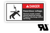 "Maschinenschilder nach ANSI Z535 mit UL-Zertifizierung UL-Maschinenschild - ""DANGER Hazardous voltage.Devices inside contain stored electrical..."""