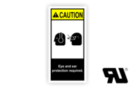 "Maschinenschilder nach ANSI Z535 mit UL-Zertifizierung UL-Maschinenschild - ""WARNING Eye and ear protection required."""