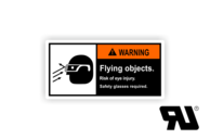 "Maschinenschilder nach ANSI Z535 mit UL-Zertifizierung UL-Maschinenschild - ""WARNING Flying objects.Risk of eye injury."""