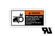 "Maschinenschilder nach ANSI Z535 mit UL-Zertifizierung UL-Maschinenschild - ""WARNING Moving parts can crush and cut."""