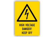 Warnschilder mit Texten in englischer Sprache Warnschilder - High Voltage Danger! Keep Off Typ1
