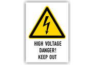 Warnschilder mit Texten in englischer Sprache Warnschilder - High Voltage Danger! Keep Out Typ1