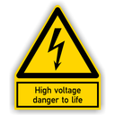 Warnschilder mit Texten in englischer Sprache Warnschilder - High voltage danger to life