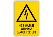 Warnschilder mit Texten in englischer Sprache Warnschilder - High Voltage Warning! Danger for Life