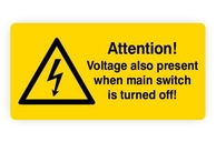 Englischsprachige Warnaufkleber Warnzeichen Attention-Voltage also present when main switch is turned off