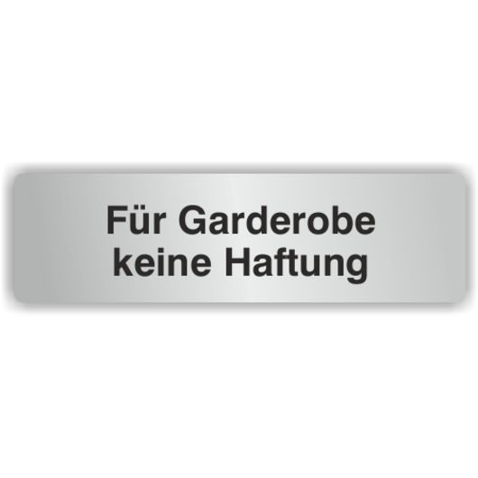 hinweisschilder aus aluminium f r garderobe keine haftung. Black Bedroom Furniture Sets. Home Design Ideas
